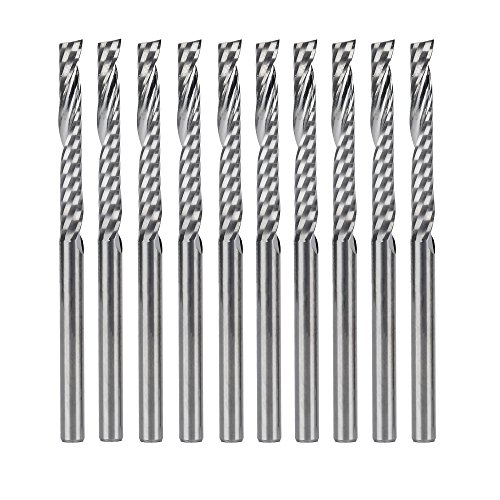 HQMaster 3.175x2.86x25mm End Mill 1 Flute Single Edged CNC Cutter Spiral Router Bits Endmill Cutting Milling Set Tool Tungsten Steel Upcut Bit, 10 Pack