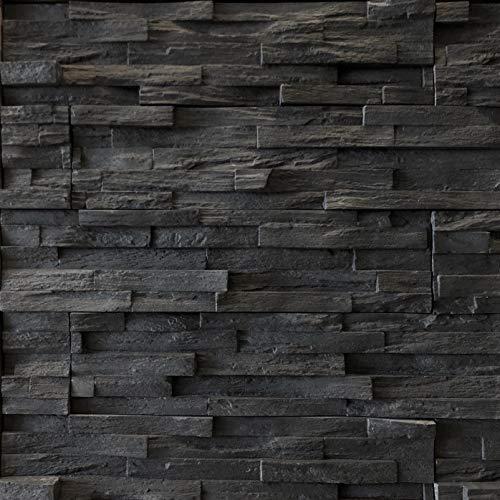 Modern Panel - Alaska Ledge Stone - Jet Black - Flats 12 Sq. Ft. Handy Pack - Manufactured Stone Veneer
