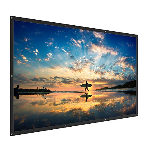 TaoTronics Projector Screen - 120 inch, 16:9 Ratio Foldable and Portable Projection Movie Screen for Outdoor, Indoor and Home Cinema (1.1 Gain, 160° Viewing Angle, Includes a Carry Bag)