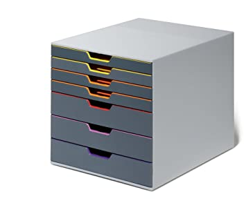 DURABLE - 760727 - VARICOLOR® 7. Cajonera con 7 cajones de plástico. Medidas: 292 x 280 x 356 mm (An x Al x P).