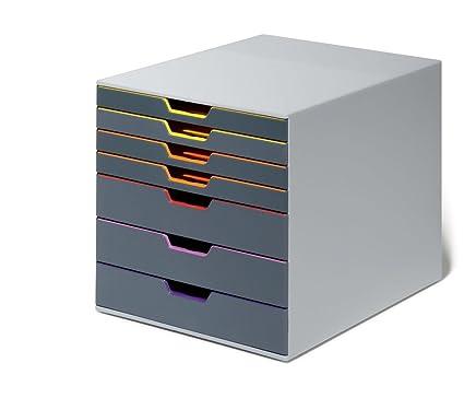 Cassettiera Con 7 Cassetti.Durable 760727 Varicolor 7 Cassettiera Con 7 Cassetti Colorati Porta Etichetta Rimovibile 280x292x356 Mm 5 Colori