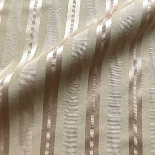 Beige and Pink Silk Striped Upholstery Fabric by The Yard ()