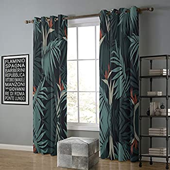Image of alilihome Blackout Curtain Sliding Glass Door 120 by 96 Inch Summer Style Palm Leaf 9 Home and Kitchen