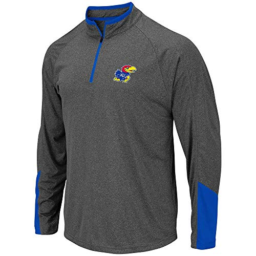 Colosseum Mens Kansas Jayhawks Tasmania Quarter Zip Wind Shirt - L