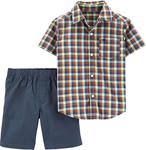 Carter's Toddler Boys Check Plaid Button Down Shorts Set 3T Blue Multi