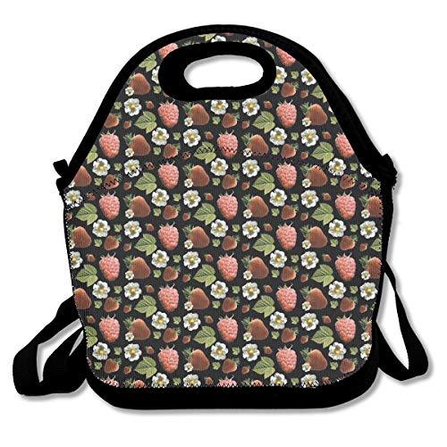 (Strawberry Flower Portable Lunch Box Bag Insulated Waterproof School Storage Handbag for Women Adults)