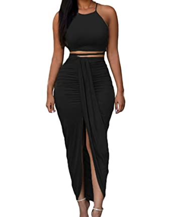 6c11d91ef7 Womens Sexy Cotton Sleeveless Slit Two Piece Maxi Skirt Set S Black