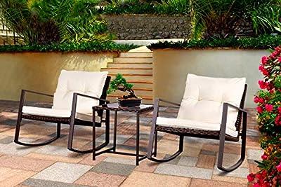 Bruce Furniture 3-Piece Patio Furniture Set, Brown Rocking Bistro Set, Sturdy Metal Frame Outdoor Set