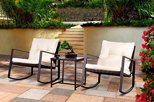 Bruce Furniture Outdoor Patio Garden Furniture Bistro Sets All-Weather Conversation Set Wicker Rattan Rocker Cushioned Chair  Tempered Glass Coffee Table Set,Brown