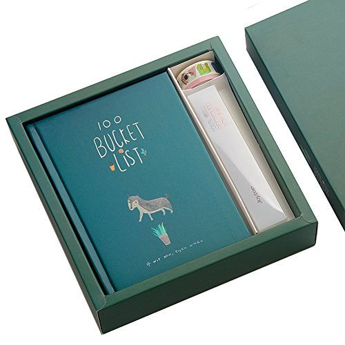 Bucket List Journal Gift Set, PENNX Premium Colorful Creative 100 Wishes List Diary Writing Notebook Bundle with Hard Cover, Colored Pen and Two Tapes (Dark Green) by PENNX