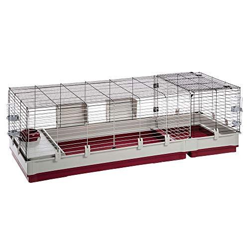 Ferplast Rabbit cage KROLIK 160, Guinea Pig and Rabbit House, Assembly kit. Separate Extension Through Metallic Grill, Accessories are Included, 162 x 60 x h 50 cm Bordeaux