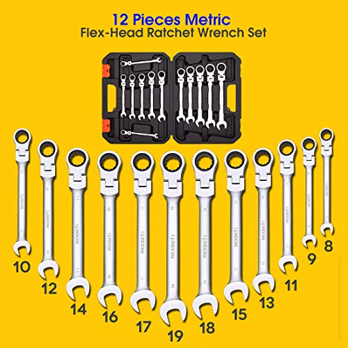 REXBETI 12-Piece Metric Flex-Head Ratcheting Wrench Set, 8-19MM, Chrome Vanadium Steel Combination Wrench Set With Durable Blow Mold Case by REXBETI (Image #2)