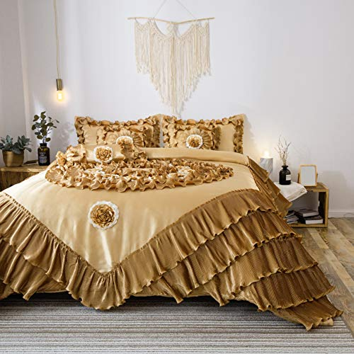 Tache 6 Piece Golden Caramel Latte Faux Satin Sateen Comforter Quilt Set, Queen - Gold Queen 7 Piece Comforter