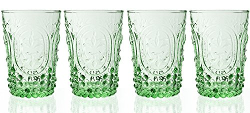 Fleur De Lys Green Juice Glass 4-Piece Set, 10 Ounce (Vintage Water Glasses compare prices)