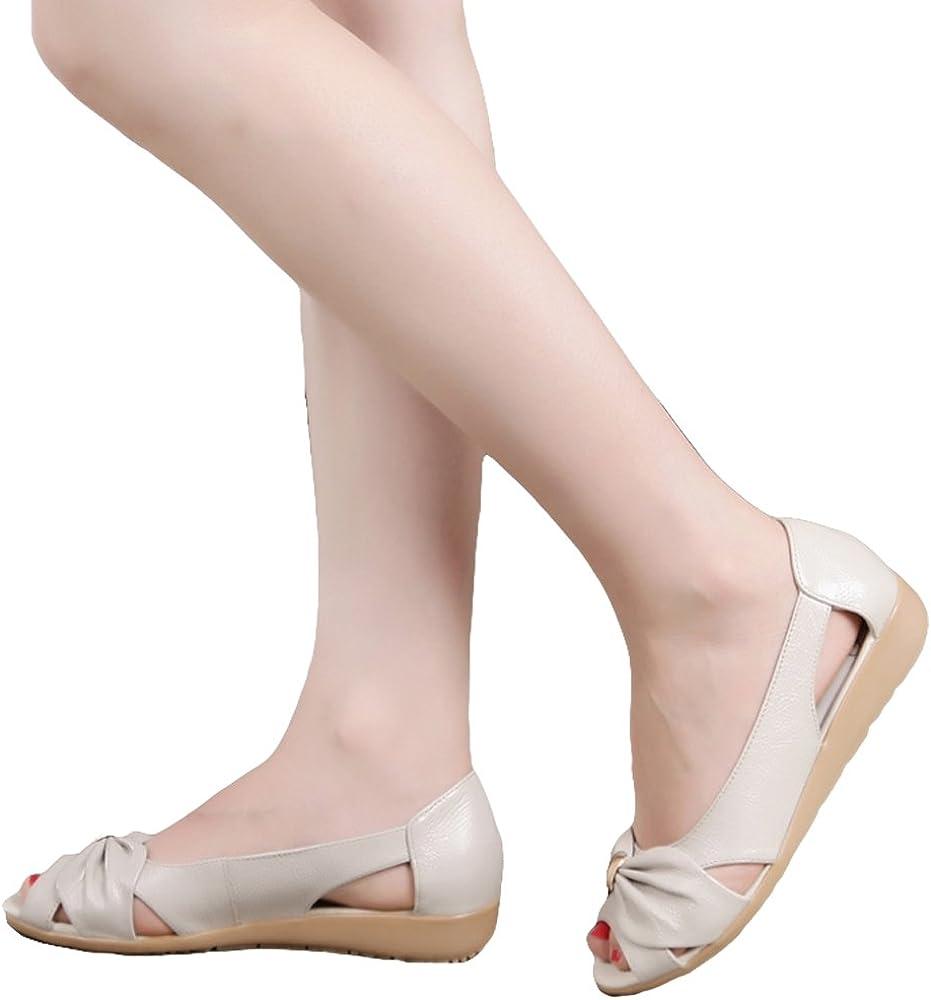 ShoeN Tale Womens Soft Sole Peep Toe Flat Sandals with Bowknot