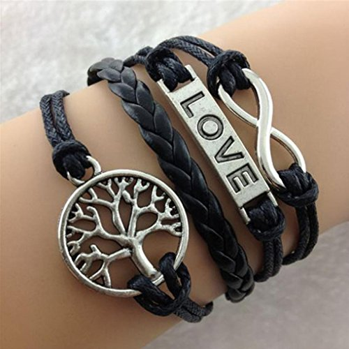 Creazy®1PC Black Handmade Knit Leather Life Tree Love Infinity Charms Bracelet