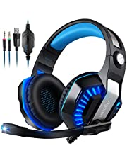Auriculares Gaming Vigorun GameK2 Cascos Gaming, 3,5 mm Interfaz, Bass Surround Cancelación de Ruido, para PC PS4 Xbox One PSP,con Adaptador y Micrófono omnidireccional