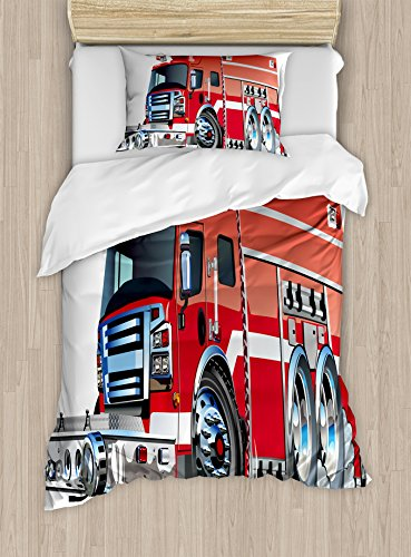 Cover Set Twin Size, Big Fire Truck with Emergency Equipments of Universal Safety Rescue Team Engine Cartoon Theme, A Decorative 2 Piece Bedding Set with 1 Pillow Sham, Red Silver ()