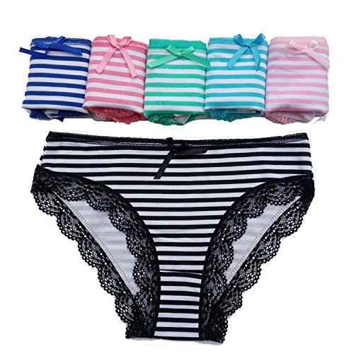 shiny star show Underwear 5 pcs Women Sexy Lace Cotton Panties M L XL,6,M