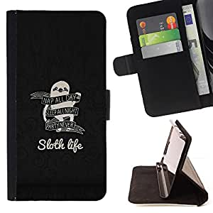 For Samsung Galaxy S6 EDGE Sloth Life Funny Advice Leather Foilo Wallet Cover Case with Magnetic Closure