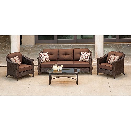 Hanover Gramercy Wicker Patio Set (4-Piece) Brown GRAMERCY4PC-BRN