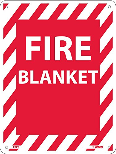 FBPR National Marker Fire Blanket Sign, 12 Inches x 9 Inches, Rigid Plastic