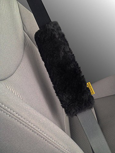 Blk Twin Pack (Twin Pack (2 Covers - Pair) Authentic Sheepskin Car Seat Belt Cover Shoulder Seatbelt Pad for Adults Youth Kids Toddlers - Auto, Truck, SUV, Airplane Accessories - Genuine Natural Soft Merino Wool)