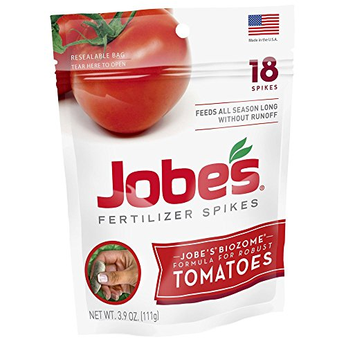 Jobe's Tomato Fertilizer Spikes, 6-18-6 Time Release Fertilizer for All Tomato Plants, 18 Spikes per Resealable Waterproof Pouch (Spikes Jobes Fertilizer)