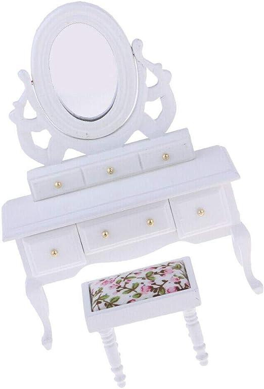 1:12 White Dressing Table Dresser Stool Dollhouse Bedroom Furniture Decor