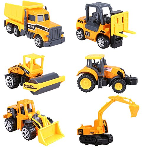 Cltoyvers 6 Pcs Mini Metal Construction Vehicle Toys Set for Kids - Forklift, Bulldozer, Road Roller, Excavator, Dump Truck, Tractor (Plastic Tractor)