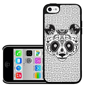 Cool Grey Pattern Background with Black and White Sugar Panda Hard Snap on Phone Case (iPhone 5c) by lolosakes