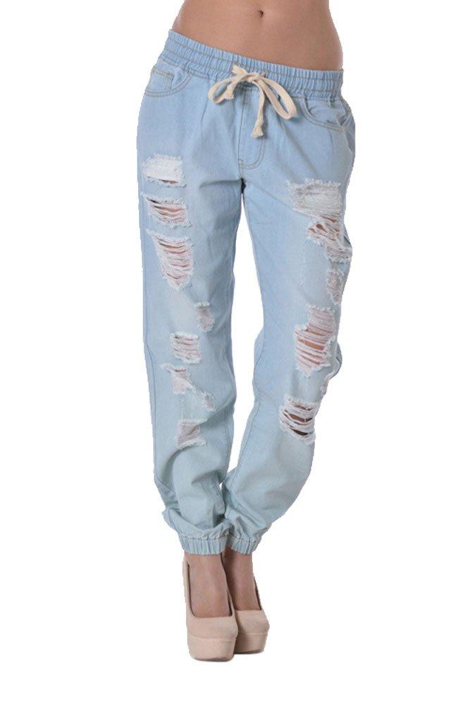 G-Style USA Women's Destructed Denim Jogger Pants RJJ328 - LIGHT BLUE - Medium - D8B