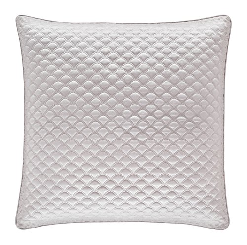 Five Queens Court Zarah Satin Damask Embroidered Euro Pillow Sham, Pearl - Embroidered Boudoir Sham