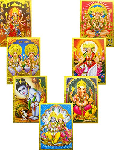 Wholesale Lot of 10 Hindu Gods and Goddess Golden Foil Posters : Size -5x7 Inches