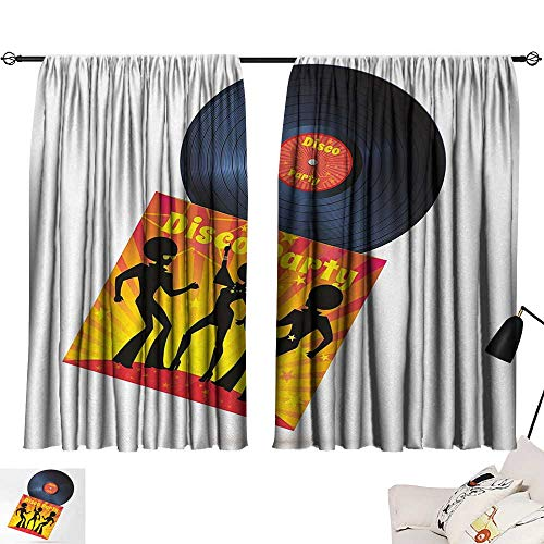 70s Party Curtain Living Room Vinyl Record Cover with Disco Party Illustration Dancers Music Art Print Printed Darkening Curtains Orange Yellow White W55 x L39 by Jinguizi (Image #6)