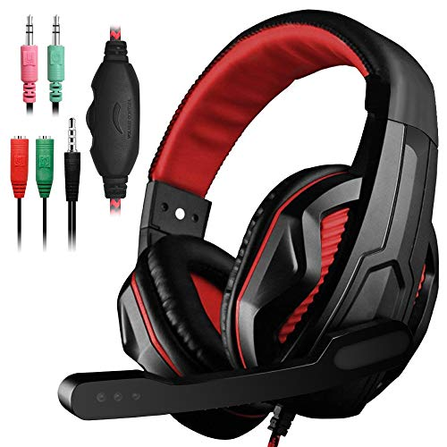 (YuCool Gaming Headset,3.5mm Wired Bass Stereo Noise Isolation Gaming Headphones with Mic for Laptop Computer,Cellphone,PS4 and so on-Volume Control(Black and Red))