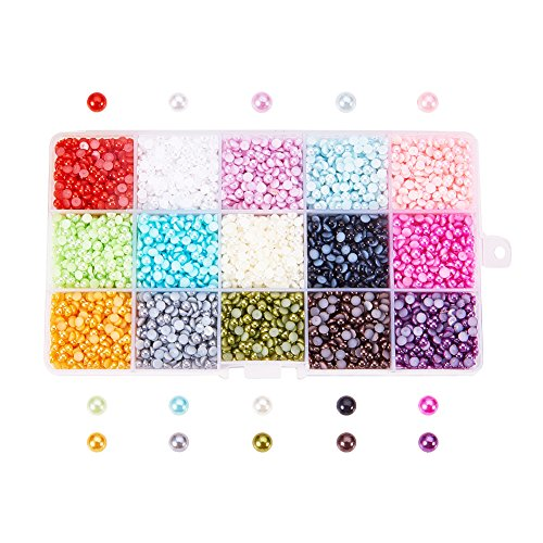 Pandahall 1 Box 15 Colors Flat back Pearl Cabochon 4mm Half Round Gem Scrapbook Craft (about (Cabochon Gem)