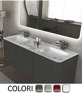 Mobile bagno, arredo bagno NUOVO + 2 lavandini + specchio + 2 ...