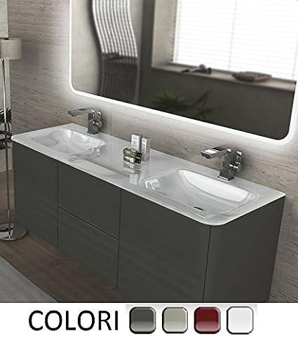 bagno con piano in legno e doppio lavabo in corian | Bathrooms in ...