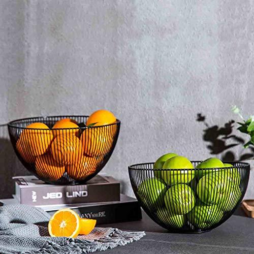 Gotian Creative Metal Wire Fruit Vegetable Snack Tray Bowl Basket Kitchen Storage Rack Holder, Fruits, Food,Toy Storage (Black)