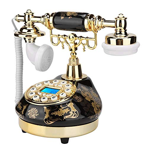 Antique Phone, Retro Ceramic Gold Flower Pattern Old Style Classic Landline Telephone with Dual FSK/DTMF System Caller ID Backlit Display for Office Home Living Room Decor, Wonderful Gift from fo sa