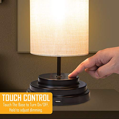 AULTRA LED Touch Table LAMP - Table Lamp Shade with Dimmable Touch Control Features & Phone Charging Port Used for… 5