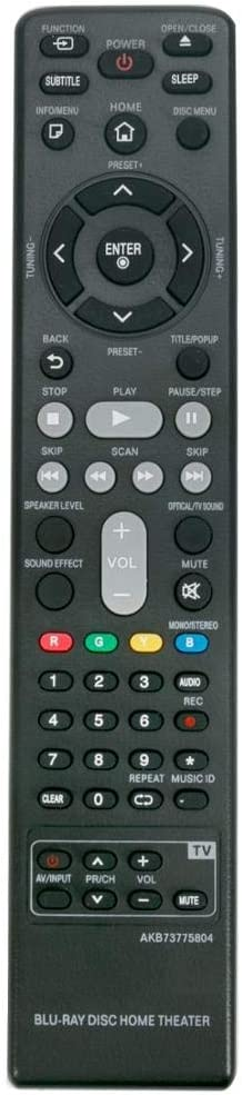 Replacement Remote Control for AC/TV/AV New AKB73775804 Remote Control for LG Blu-Ray Disc Home Theater BH6730S BH6830SW LHB625 LHB675