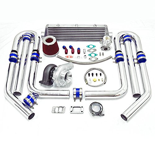 Universal High Performance Upgrade T70 9pc Turbo Kit (Silver Intercooler/Silver Pipping)