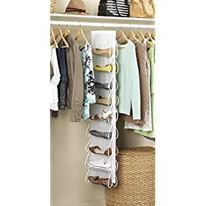 Whitmor White Hanging Shoe File, Clear