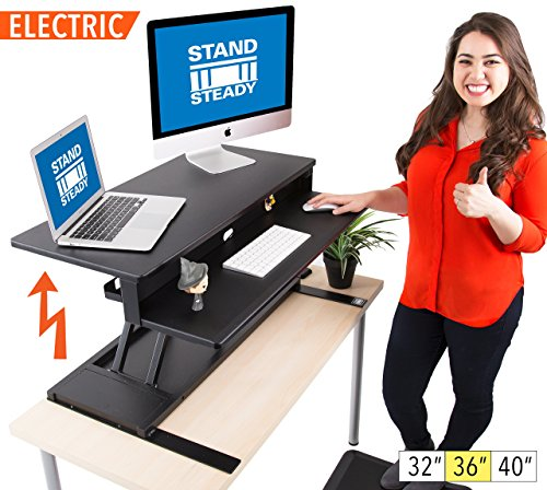 Flexpro Power Electric Standing Desk |Electric Height-Adjustable Stand up Desk | by Award Winning Stand Steady! Holds 2 Monitors! (Black) (36