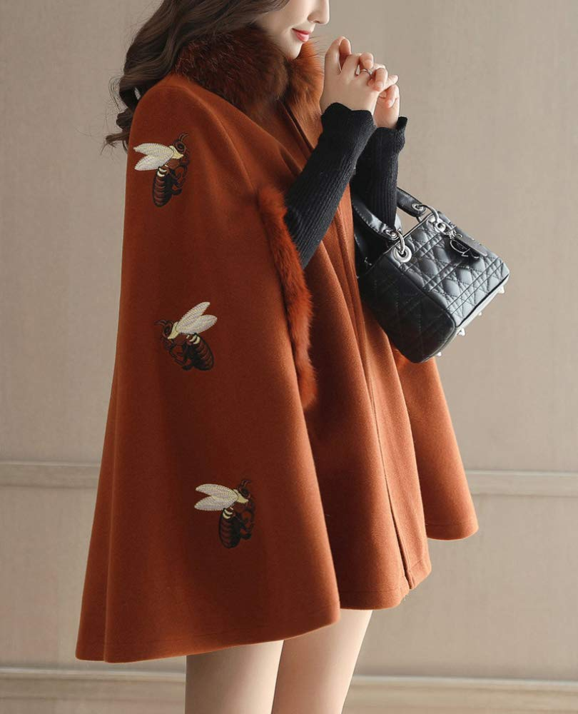 Caramel oak Autumn and Winter Woolen Coat, Ladies Warm Cotton Jacket, Autumn and Winter Embroidery Bee British Cloak Jacket Female Long Korean Wool Coat Female, Ladies Autumn and Winter Windbreaker XQY