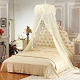 Jeteven Polyester Dome Bed Canopy Kids Play Tent Mosquito Net with Lace for Baby Kids Indoor Outdoor Playing Reading Height 265cm/104.33in Yellow