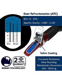 Cerveza (0 32  Brix & 1.000 1.130 Grado Específico) Refractómetro con ATC, Refracómetro de mano Rhino para dar un soporte portátil, revestimiento de teflón de frutas y zumos de vino