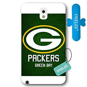 Onelee Customized NFL Series Case for Samsung Galaxy Note 3, NFL Team Green Bay Packers Logo Samsung Galaxy Note 3 Case, Only Fit for Samsung Galaxy Note 3 (White Frosted Shell)